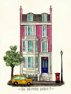 26 British Street London Illustration Art by eleanorreeshowell London Illustration, Building Illustration, House Illustration, Illustrations, Watercolor Architecture, Architecture Sketchbook, Architecture Art, Building Painting, Building Art