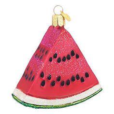Watermelon Wedge Glass Ornament