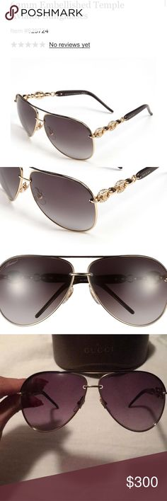 Gucci embellished 63mm aviator sunglasses New condition - comes with case - aviators go with everything, embellished on the side for a cute look. As you see these where also sold on tradesy for almost $500 the embellished style on these glasses is more expensive! Gucci Accessories Sunglasses