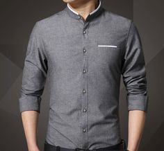Mens Mandarin Collar Oxford Shirt