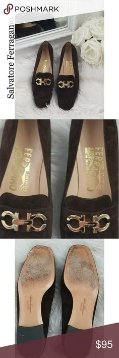 💲ONE DAY SALE💲Salvatore Ferragamo Suede Loafers Suede Loafers with gold logo, inside condition is great with no damage. Front and bottom has some signs of wear but the heel is in great condition.  No box or dust bag included. Shoes Flats & Loafers