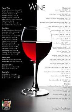 wine menu - Google 検索