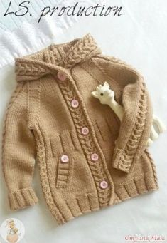 Free Knitting Pattern Baby Cardigan with Cables Baby Boy Knitting, Knitting For Kids, Crochet For Kids, Free Knitting, Knitting Projects, Crochet Baby, Baby Sweater Patterns, Baby Knitting Patterns, Baby Patterns