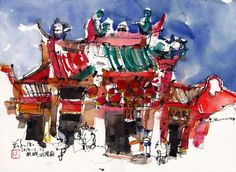 Paintings of Penang, Malaysia, travelling artist