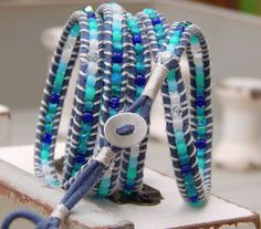 Bright Blue 5x Wrap Bracelet with Sparkly by TowerCreationsbyTC, $60.00