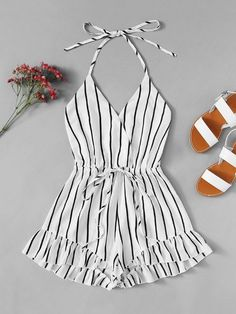 Drawstring Waist Striped Romper - Drawstring Waist Striped Romper Source by SHEINofficial - Teenage Outfits, Teen Fashion Outfits, Mode Outfits, Outfits For Teens, Girl Fashion, Girl Outfits, Preteen Fashion, Party Outfits, Fashion Black