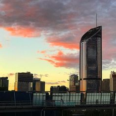 Golden Glass and Pink Clouds along the skyline are one of the most beautiful sights in Brisbane City, Pink Clouds, Skyscraper, Most Beautiful, Skyline, Photo And Video, Glass, Instagram, Skyscrapers