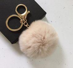 New Cream Fur pom pom keychain fur ball bag by YogaStudio55