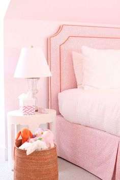 Pink little girl's bedroom - Cynthia Brooks Design Girls Bedroom, Girls Headboard, Trendy Bedroom, Kids Headboards, Kids Nightstands, Headboard Ideas, Modern Princess, Dark Green Wall, Murs Roses