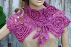 Crochet  Scarf Winter wedding   Freeform  crochet method- Capelet  Neck Warmer - Dark pink  /Chunky Knit - Freeform Crochet -  one of a kind