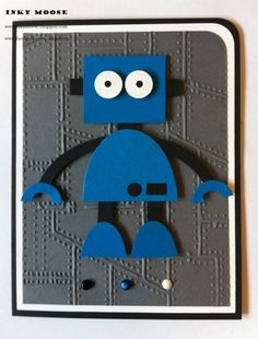 handmade card for kids ... pumch art robot ... bright blue on a gray background ... cute figure!!