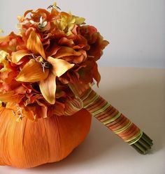 Orange Tiger Lily Hydrangea BOUQUET  BOUTONNIERE SET accented with Yellow Polyanthus for Late Summer Fall Autumn Wedding