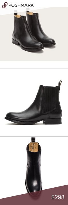 """Frye Jaimie Chelsea Black Boot Whether an uptown brunch or downtown dance party, this is that sleek boot that works for all social occasions. The beautifully stitched, pleated leather gores offer stretch and style, while the smooth, polished leather is vegetable tanned—one of the oldest and most artisan leather treatments. BNIB. FEATURES - Italian leather - Leather lined -•Leather with rubber outsole - Goodyear welt construction - 5 1/2"""" shaft height - 10 3/5"""" shaft circumference - 1 1/5""""…"""