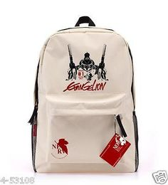 EVA Neon Genesis Evangelion EVANGELION backpack anime schoolbag beige canvas bag in Clothing, Shoes & Accessories,Unisex Clothing, Shoes & Accs,Unisex Accessories | eBay
