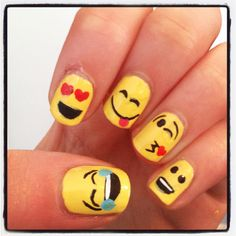 Great idea:) emoji nail art