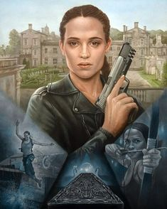 """d45568067792ce scifiartist  """"Lara Croft Tomb Raider oil painting I ve just finished  featuring """""""