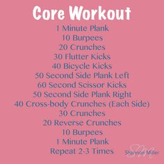 Weekly Workout Routine - Wednesday