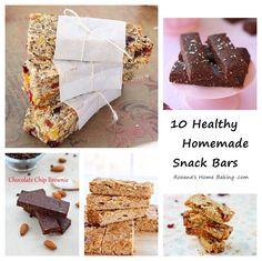 10 Healthy Homemade Snack Bars from Roxanashomebaking.com