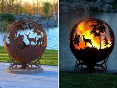 metal fire pits with hand cut images