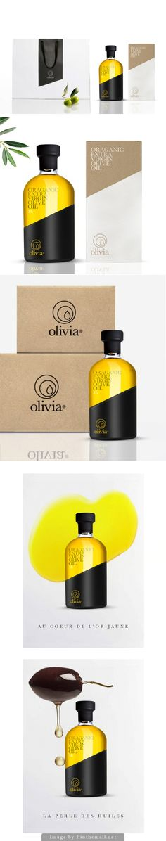 #Packaging and #graphic design: yellow , black and cardboard, Olivia Organic Extra Virgin Olive Oil
