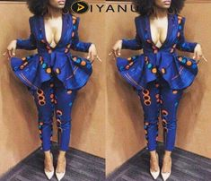 NuVu Jacket with peplum and Pants, african jumpsuit, ankara, african print… African Inspired Fashion, African Print Fashion, Africa Fashion, African Fashion Traditional, African Print Dresses, African Fashion Dresses, African Dress, African Prints, Ankara Fashion