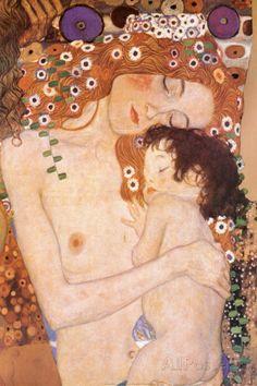 Äiti ja lapsi - Yksityiskohta maalauksesta Naisen kolme ikää (Mother and Child - detail from The Three Ages of Woman), noin 1905 Juliste tekijänä Gustav Klimt AllPosters.fi-sivustossa