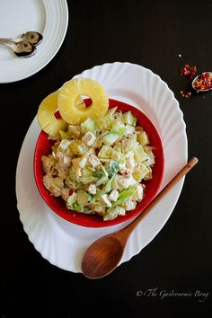 Potato Salad with Chicken, Apple and Pineapple   Today's recipe isPotato Salad with Chicken, Apple and Pineapple with a slight twist to the Classic Potato salad.A creamy and delicious chunky salad, made with potatoes laden with mayonnaise and sour cream. YUMMM…. This salad can be served as a side dish and is perfect forRead more