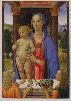 Cosimo Rosselli (1440-1507) | Madonna and Child with Angels, tempera and gold on wood, 85.1×58.4cm. The Metropolitan Museum of Art, NYC. The picture seems to have been painted about 1480–82, under the strong influence of Verrocchio, and is almost perfectly preserved. It is roughly contemporary with Rosselli's frescoes in the Sistine Chapel, Rome, where he worked alongside Perugino, Botticelli, Ghirlandaio, and Signorelli.