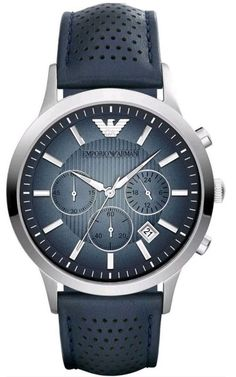 a1fb0738ff72 EMPORIO ARMANI Classic Chronograph Blue Dial Leather Wrist Watch For Men.   EmporioArmaniWatches  WatchesForMen