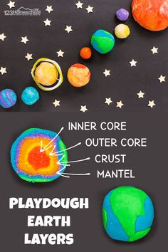 solar system planet project with playdough including labeled cross section of the layers in EARTH