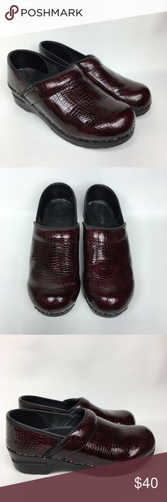 SANITA Sz 8/39 Burgundy Patent Leather Clogs. Pre owned, good used condition, Snake Print Patent Leather. Little Scuff, see the last picture for details. Sanita Shoes Mules & Clogs