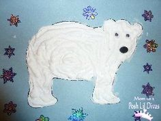 Polar bear with puffy paint then add coconut flakes for more texture