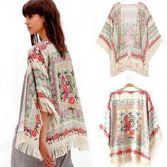 New Summer Women Floral Loose Tassels Shawl Kimono Cardigan Coat Jacket Nice #New #Coat