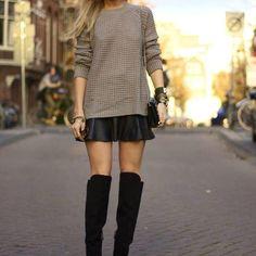 Look moderno e cool com bota cano alto