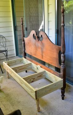 Patty's husband created the frame for the bench and attached the legs to the front.