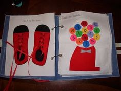 Quiet Book Ideas - love the shoes with laces!