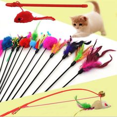 Pet Cat Playing Toys Kitten Cat Pet Toy Feather Teaser Rod Wand Playing Stick Funny 3091# 1PC