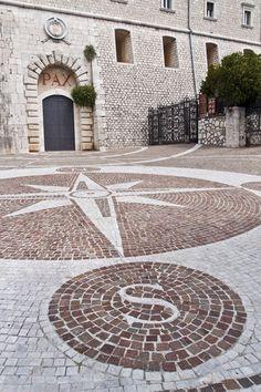 Compass rose. Abbazia di Montecassino, Cassino,province of  Frosinone, Lazio region Italy