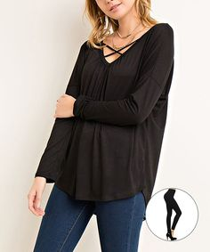 Look at this #zulilyfind! Black Crisscross Yoke V-Neck Top & Black Leggings by JDF Designs #zulilyfinds