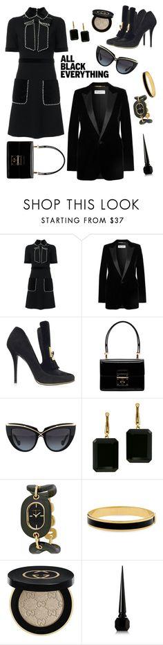 """All black"" by ana-amorim ❤ liked on Polyvore featuring Gucci, Yves Saint Laurent, Balmain, Dolce&Gabbana, Anna-Karin Karlsson, Joan Hornig, Anne Klein, Halcyon Days, Christian Louboutin and allblack"