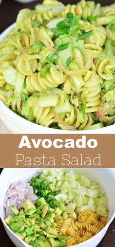4 Points About Vintage And Standard Elizabethan Cooking Recipes! Avocado Pasta Salad Made With Cucumber, Onions, Scallions, Avocados, And Cilantro Lime Dressing. This Pasta Salad Recipe Is A Great Summer Side Dish. Yummy Pasta Recipes, Pasta Salad Recipes, Side Dish Recipes, Vegetarian Recipes, Healthy Recipes, Yummy Food, Pasta Side Dishes, Pasta Sides, Summer Side Dishes