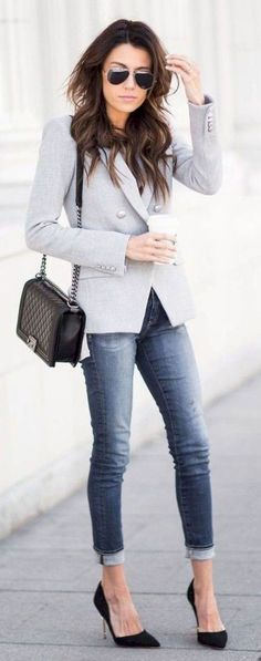 The best professional work outfit ideas 17 classy кэжуал женская мода, стил Casual Work Outfits, Winter Outfits For Work, Blazer Outfits, Business Casual Outfits, Blazer Fashion, Work Attire, Mode Outfits, Work Casual, Casual Chic