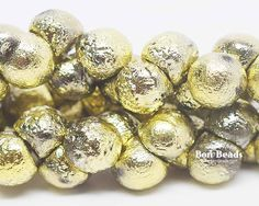 9x8mm Gold Ore Etched Wide Cap Mushroom Buttons @ www.bonbeads.com