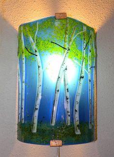 Custom Made Aspen Grove Fused Glass Sconce