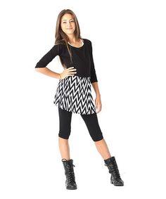 Look what I found on White & Black Chevron Skirt - Girls Cute Fashion, Kids Fashion, Autumn Fashion, Fashion Outfits, Teenage Girl Outfits, Outfits For Teens, Style École, Real Style, Supergirl