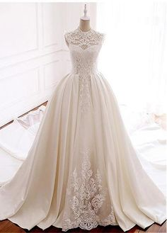 Lace Wedding Dresses, Marvelous Tulle & Satin Illusion High Collar Ball Gown Wedding Dress With Lace Appliques & Beadings, Find your personal style and the perfect wedding dress for your special wedding day Inexpensive Wedding Dresses, Cheap Wedding Dress, Gown Wedding, Lace Wedding, Wedding Attire, Elegant Wedding, Wedding Shoes, Wedding Dresses 2018, Bridal Dresses