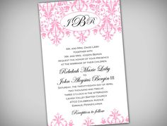 Minus the pink!   Soft Pink Damask 6x9 or 5x7 Wedding or Bridal by elegantprints, $20.00.