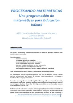 Procesando matemáticas una programación de matemáticas para educación infantil by Miren Pardo