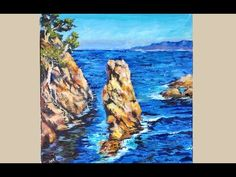 Palette Knife Acrylic Seascape full legnth tutorial with A Palette Knife and Brush - YouTube