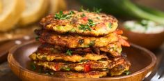 Tasty coriander, chilli, chives and corn fritters